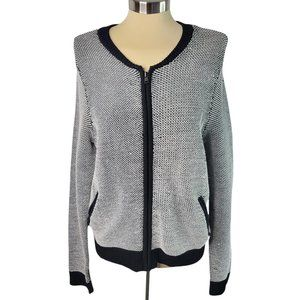Ann Taylor Cardigan Sweater Large Black White Full Zip Pockets Unlined